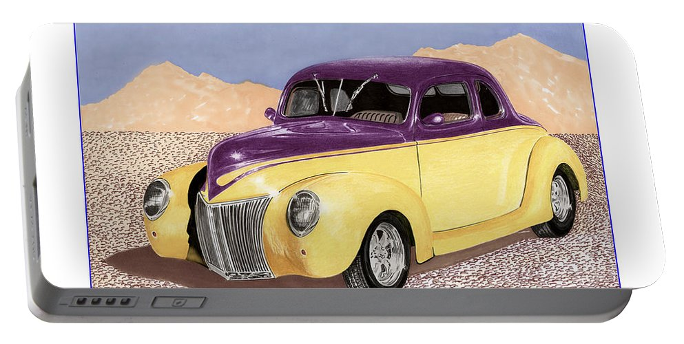 Automotive Prints Portable Battery Charger featuring the painting 1939 Ford Deluxe Street Rod by Jack Pumphrey