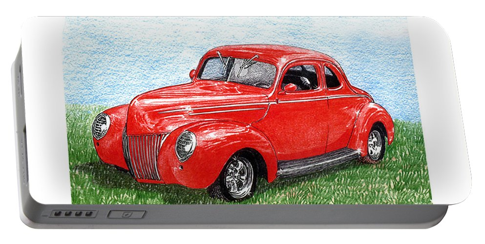 Automotive Prints Portable Battery Charger featuring the drawing 1939 Ford Standard Coupe by Jack Pumphrey