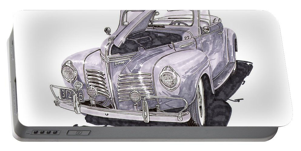 Pre-war Convertibles Portable Battery Charger featuring the painting 1940 Plymouth P 1 Convertible by Jack Pumphrey