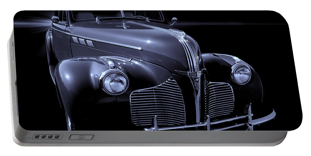 Automotive Portable Battery Charger featuring the photograph 1940 Torpedo Coupe B/w by Thomas Burtney