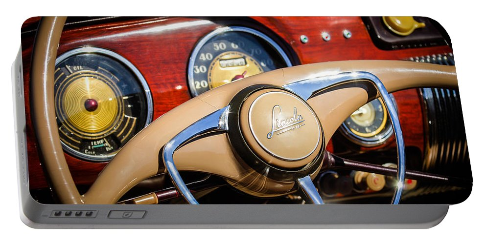 Car Portable Battery Charger featuring the photograph 1941 Lincoln Continental Cabriolet V12 Steering Wheel by Jill Reger