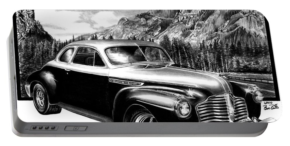 1941 Buick Roadmaster And Half Dome Portable Battery Charger featuring the drawing 1941 Roadmaster - Half Dome by Peter Piatt