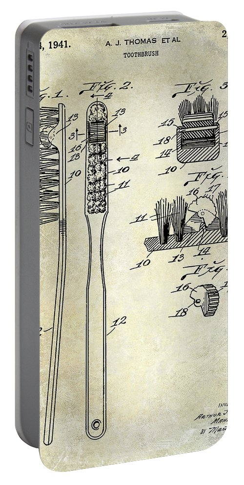 Toothbrush Portable Battery Charger featuring the photograph 1941 Toothbrush Patent by Jon Neidert