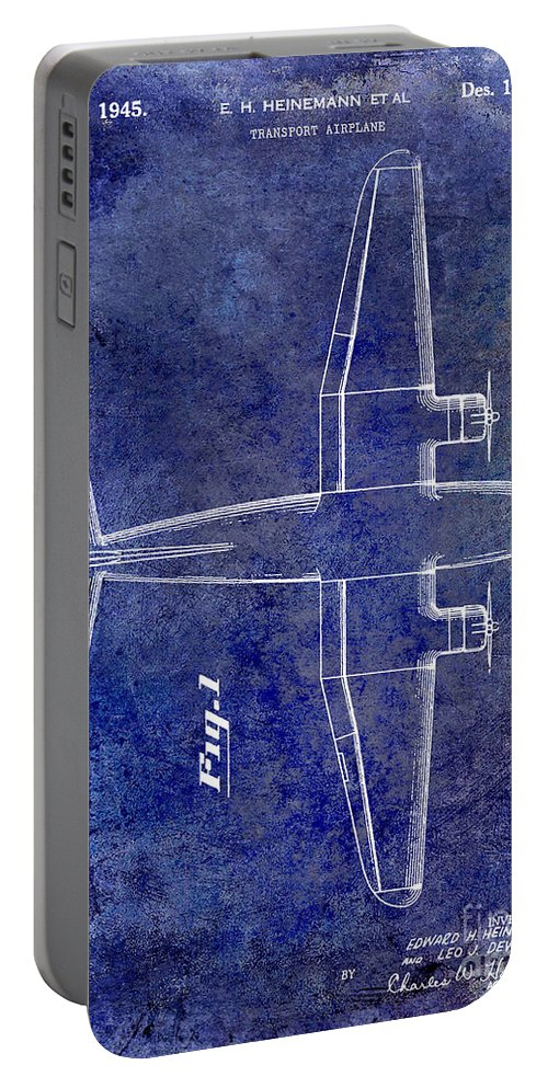 1955 Airplane Patent Portable Battery Charger featuring the photograph 1945 Transport Airplane Patent Blue by Jon Neidert