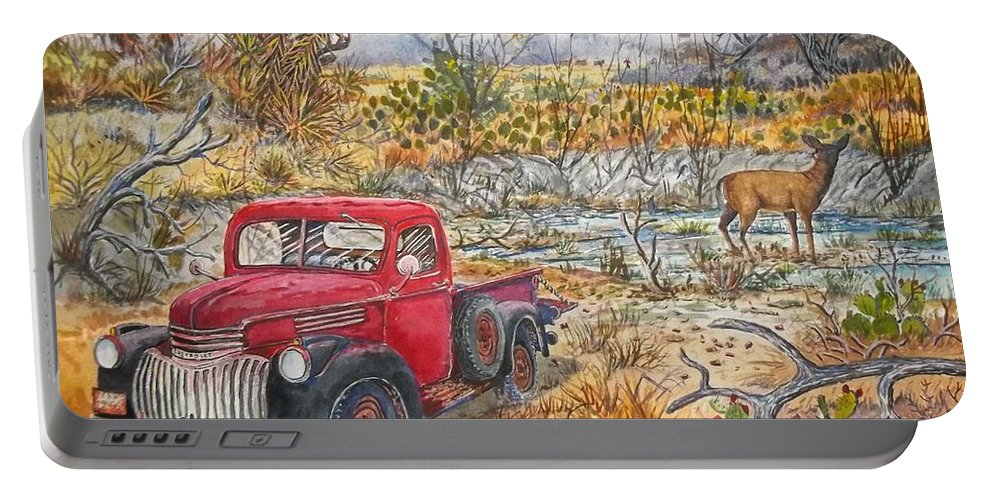1946 Chevy Truck Portable Battery Charger featuring the painting Water Hole by Don Hand