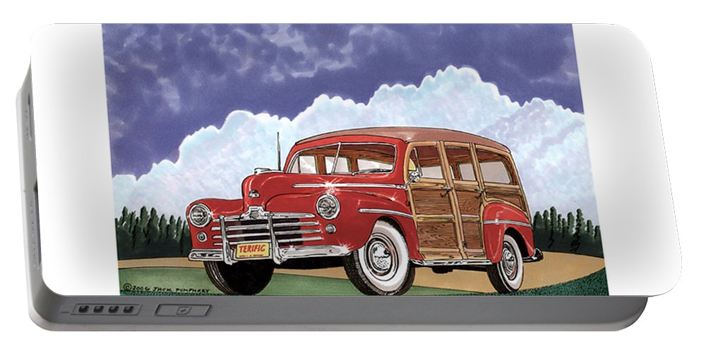 Images Of 1941 Plymouth Woodies. Framed Photography Art Of Woody�s. Prints Of Cool Wood-paneled Station Wagons. Wrecked 1946 Ford Woody�s. Prints Of 1941 Plymouth Woodies. Prints Of 1941 Chrysler Town & Country Convertibles. Prints Of 1948 Ford Sportsmen Convertibles. Prints Of 1950 Ford Woody�s.automotive Prints Portable Battery Charger featuring the painting 1946 Ford Woody by Jack Pumphrey