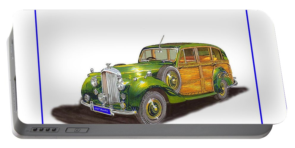 Shooting Brake Or Portable Battery Charger featuring the drawing 1947 Bentley Shooting Brake by Jack Pumphrey