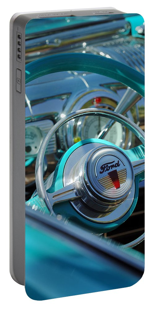 Car Portable Battery Charger featuring the photograph 1947 Ford Deluxe Convertible Steering Wheel by Jill Reger