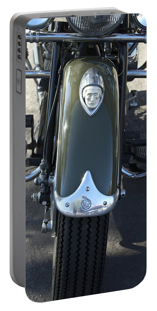 1948 Indain Chief Motorcycle Portable Battery Charger featuring the photograph 1948 Indian Chief Motorcycle Hood Ornament by Jill Reger