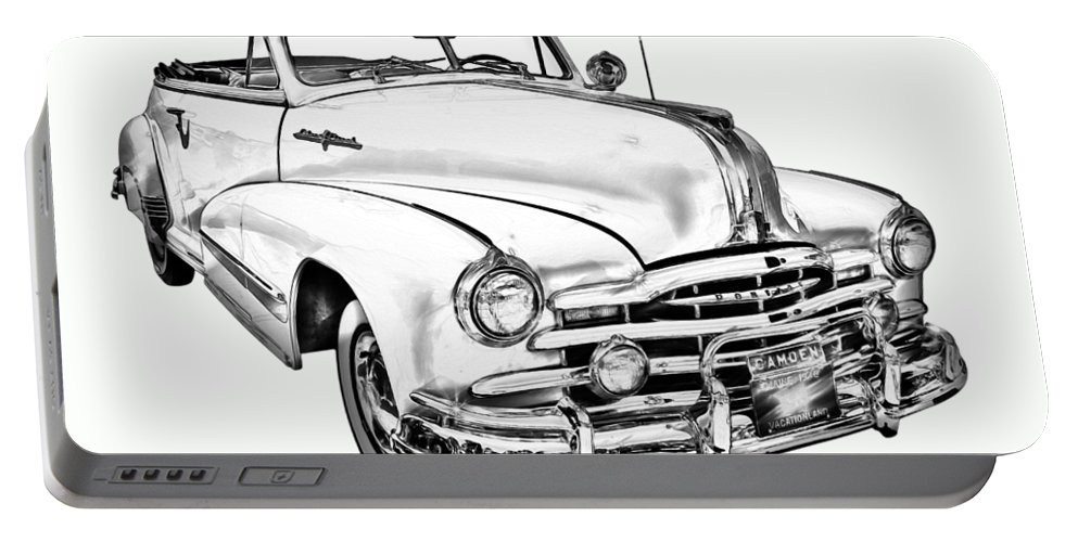 Old Portable Battery Charger featuring the photograph 1948 Pontiac Silver Streak Convertible Illustration by Keith Webber Jr