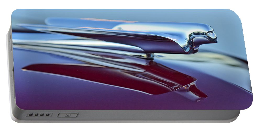 1949 Cadillac Portable Battery Charger featuring the photograph 1949 Cadillac Hood Ornament by Jill Reger