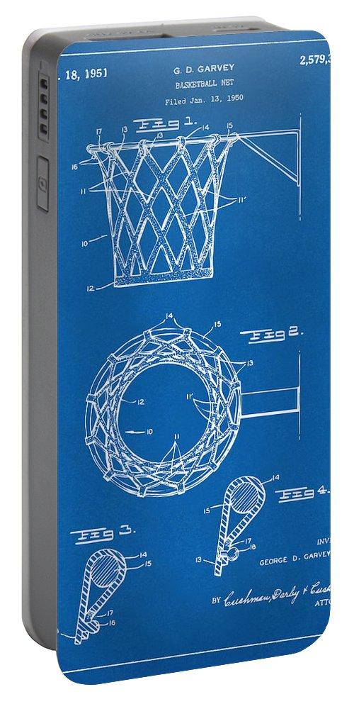 Basketball Portable Battery Charger featuring the digital art 1951 Basketball Net Patent Artwork - Blueprint by Nikki Marie Smith