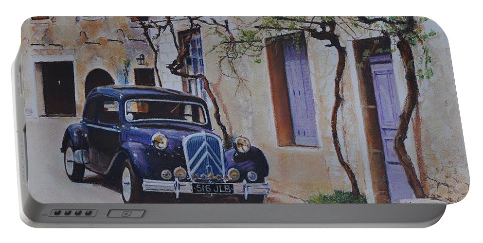 Classic Cars Portable Battery Charger featuring the pastel 1951's Citroen by Iliyan Bozhanov