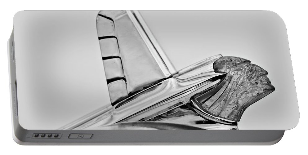 1953 Pontiac Portable Battery Charger featuring the photograph 1953 Pontiac Hood Ornament 2 by Jill Reger