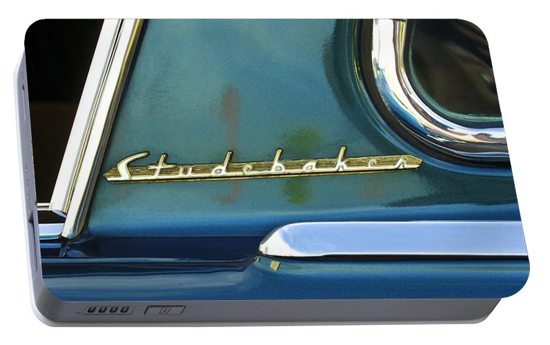 Car Detail Portable Battery Charger featuring the photograph 1953 Studebaker Champion Starliner Abstract by Jill Reger
