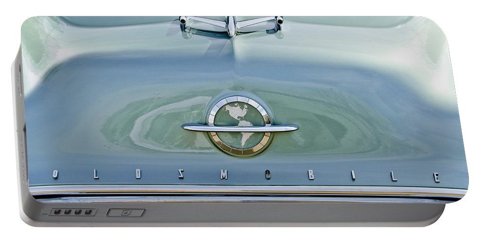 1954 Oldsmobile Portable Battery Charger featuring the photograph 1954 Oldsmobile Super 88 Hood Ornament 3 by Jill Reger