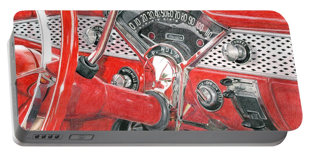 Classic Portable Battery Charger featuring the drawing 1955 Chevrolet Bel Air by Rob De Vries