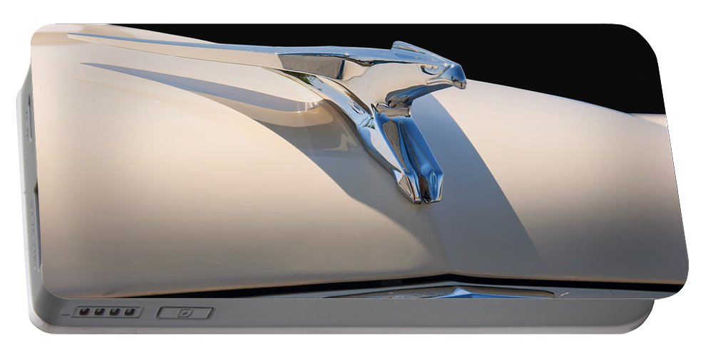 1956 Portable Battery Charger featuring the digital art 1956 Chrysler Soaring Falcon Hood Ornament by Chris Flees