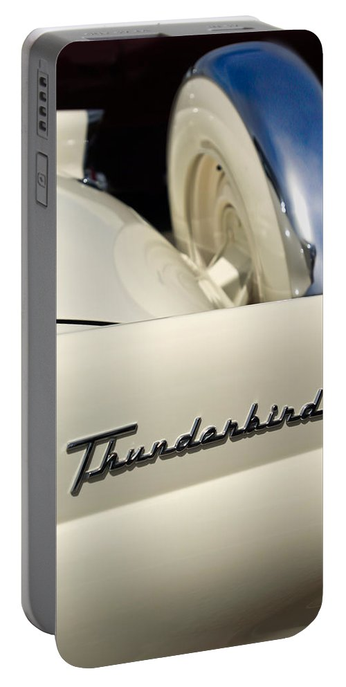 Car Portable Battery Charger featuring the photograph 1956 Ford Thunderbird Spare Tire by Jill Reger