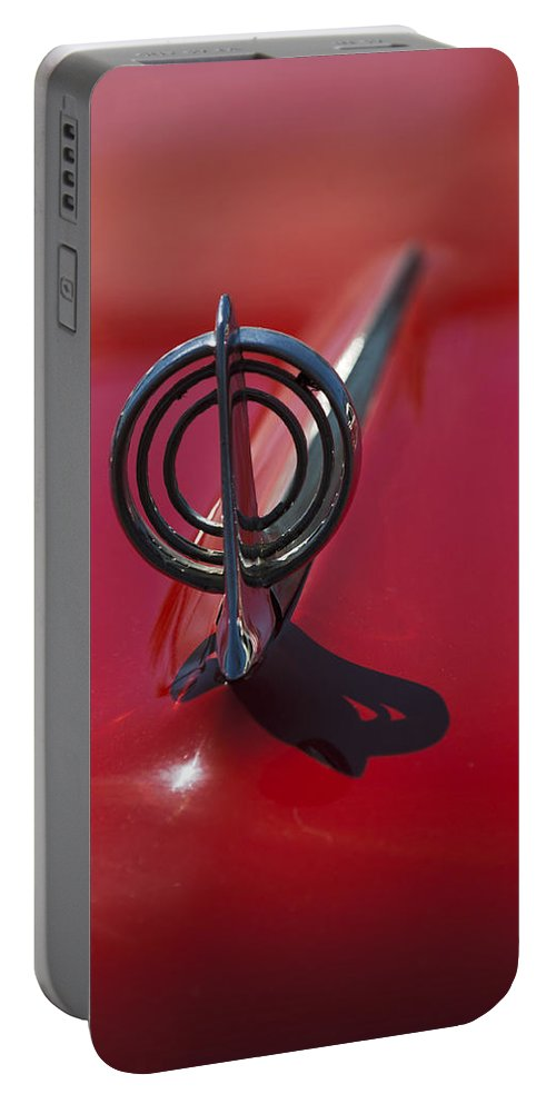 1957 Buick Portable Battery Charger featuring the photograph 1957 Buick Hood Ornament by Jill Reger