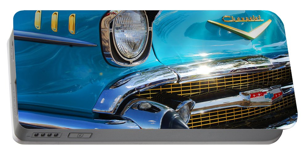 1950's Portable Battery Charger featuring the photograph 1957 Chevrolet Belair Grille by Jill Reger