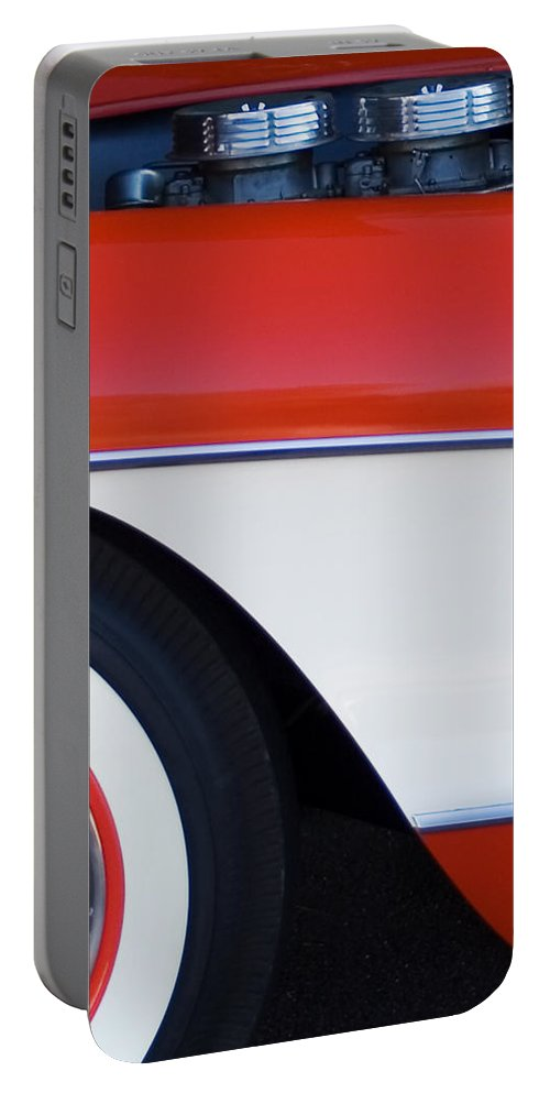 Car Portable Battery Charger featuring the photograph 1957 Chevrolet Corvette Convertible Front End by Jill Reger