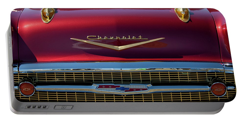 1957 Chevrolet Portable Battery Charger featuring the photograph 1957 Chevrolet Grille by Jill Reger