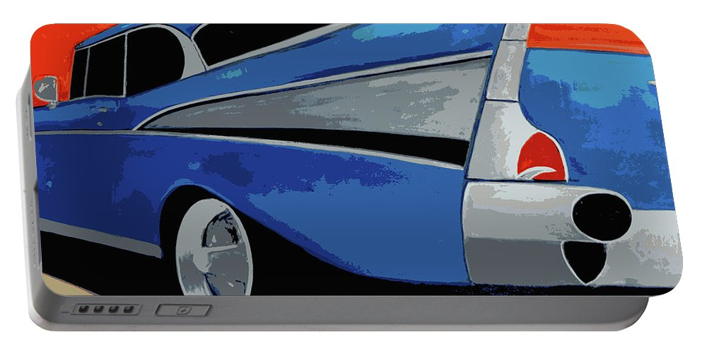 Chevy Portable Battery Charger featuring the painting 1957 Chevy Bel Air by Katy Hawk