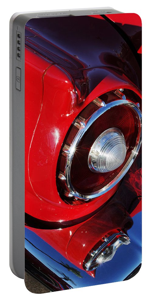 Car Portable Battery Charger featuring the photograph 1957 Ford Thunderbird Taillight by Jill Reger