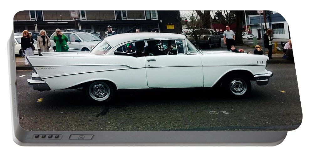Vintage Portable Battery Charger featuring the photograph 1957 White Chevy by Melissa Coffield