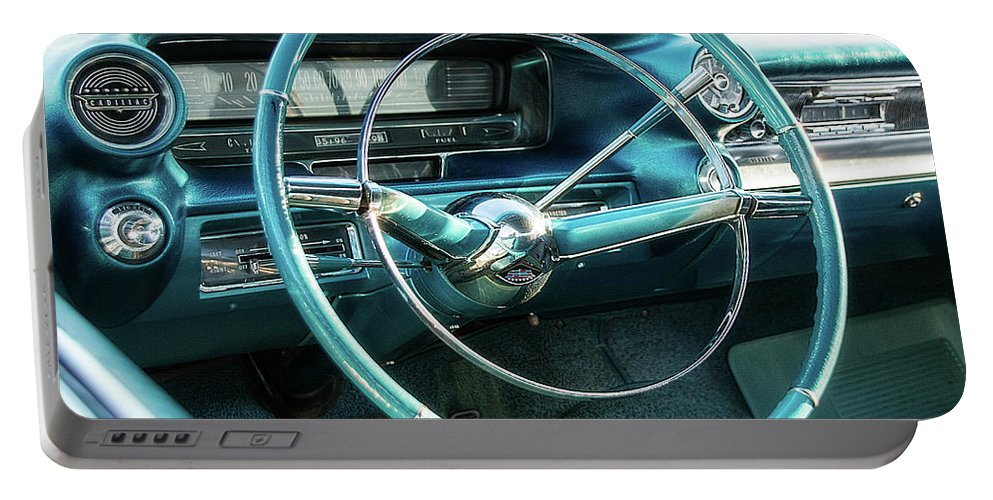 1950s Portable Battery Charger featuring the photograph 1959 Cadillac Sedan Deville Series 62 Dashboard by Jon Woodhams