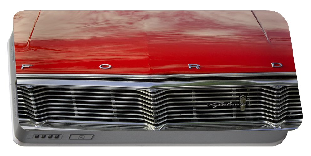 Grill Portable Battery Charger featuring the photograph 1960s Ford Galaxie by Robin Lewis