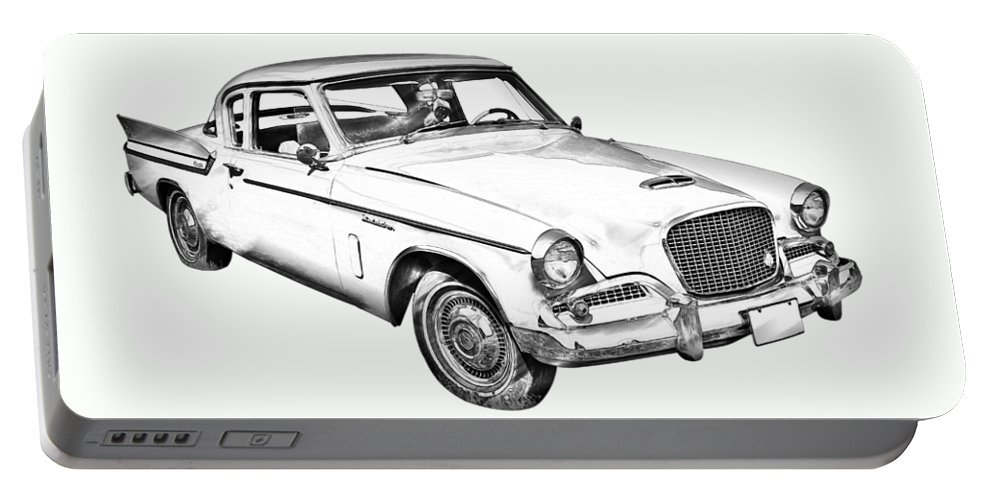 Vintage Portable Battery Charger featuring the photograph 1961 Studebaker Hawk Coupe Illustration by Keith Webber Jr