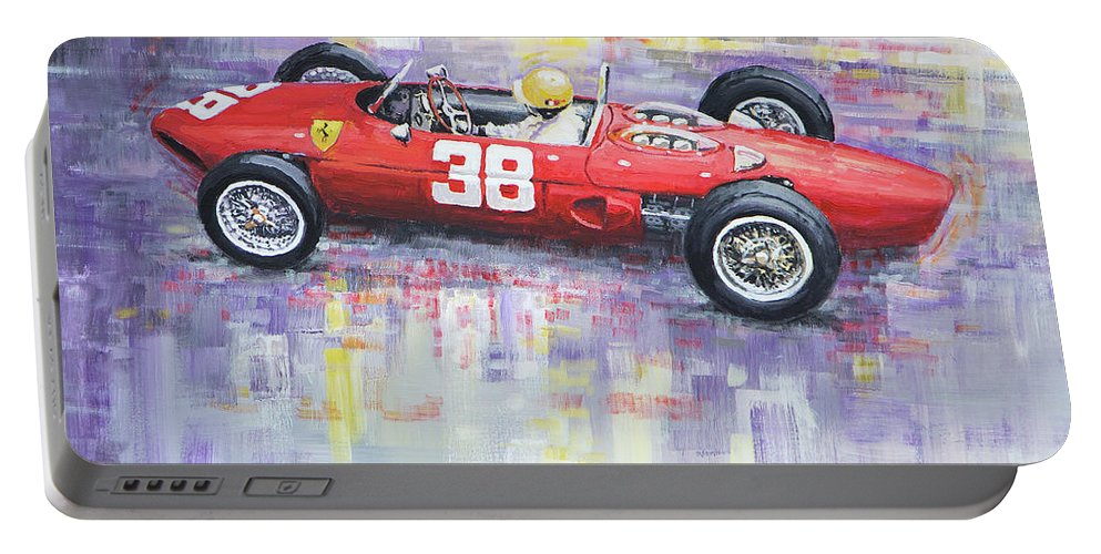 Acrilic On Canvas Portable Battery Charger featuring the painting 1962 Ricardo Rodriguez Ferrari 156 by Yuriy Shevchuk