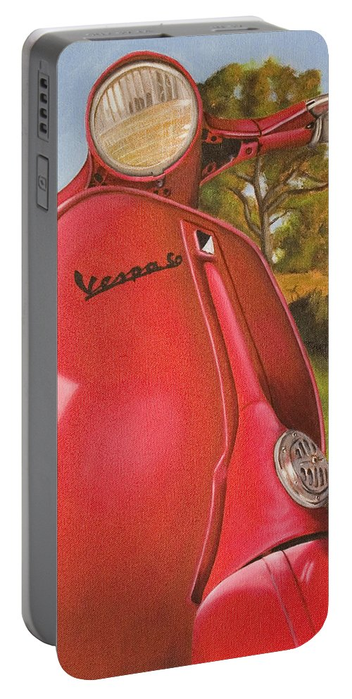 Scooter Portable Battery Charger featuring the painting 1963 Vespa 50 by Rob De Vries