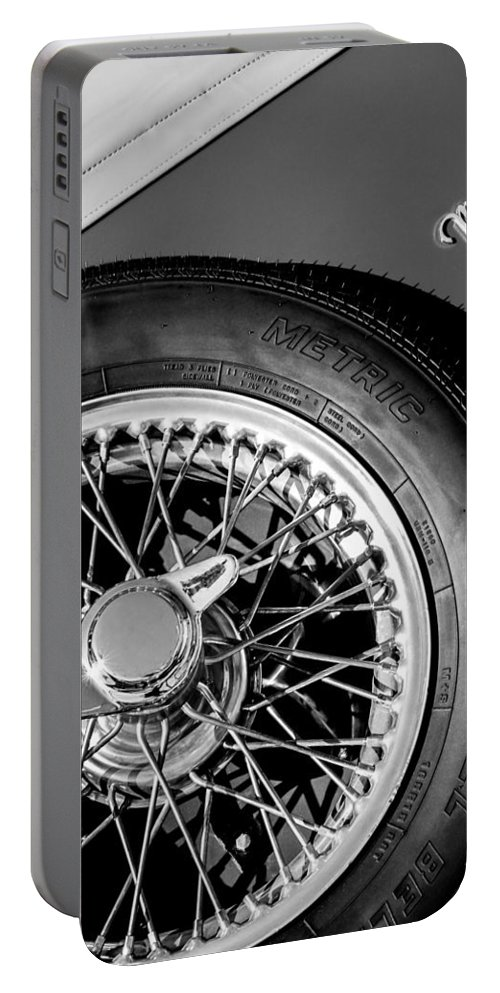 1964 Morgan 44 Spare Tire Emblem Portable Battery Charger featuring the photograph 1964 Morgan 44 Spare Tire Black And White by Jill Reger
