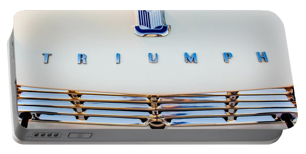 1965 Triumph Tr-4 Portable Battery Charger featuring the photograph 1965 Triumph Tr-4 Hood Ornament by Jill Reger