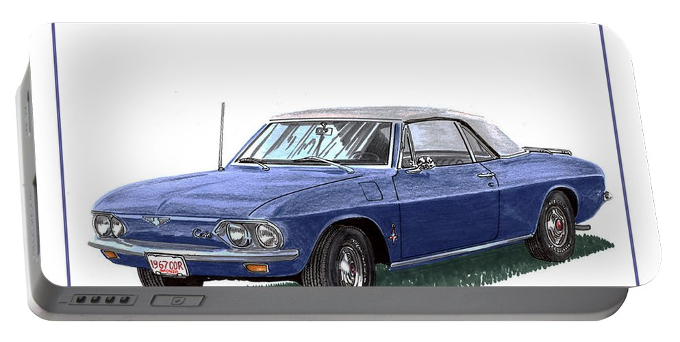 The 1967 Corvair Monza Convertible Legacy Was Affected By Controversy Surrounding Its Handling Portable Battery Charger featuring the painting 1967 Corvair Monza Spyder by Jack Pumphrey