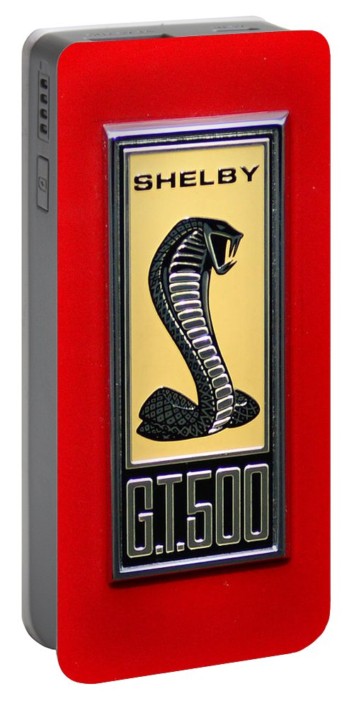 1967 Ford Shelby Gt 500 Cobra Fender Emblem On Red Portable Battery Charger featuring the photograph 1967 Ford Shelby Gt 500 Cobra Fender Emblem On Red by Paul Ward