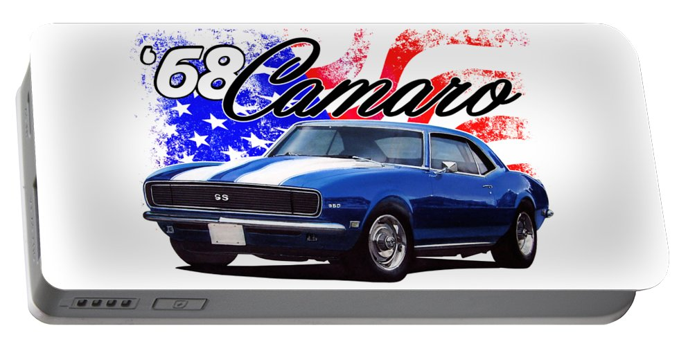 1968 Portable Battery Charger featuring the digital art 1968 Camaro Stars And Stripes by Paul Kuras