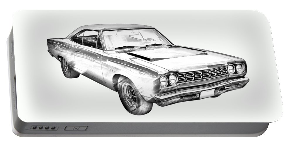 Car Portable Battery Charger featuring the photograph 1968 Plymouth Roadrunner Muscle Car Illustration by Keith Webber Jr