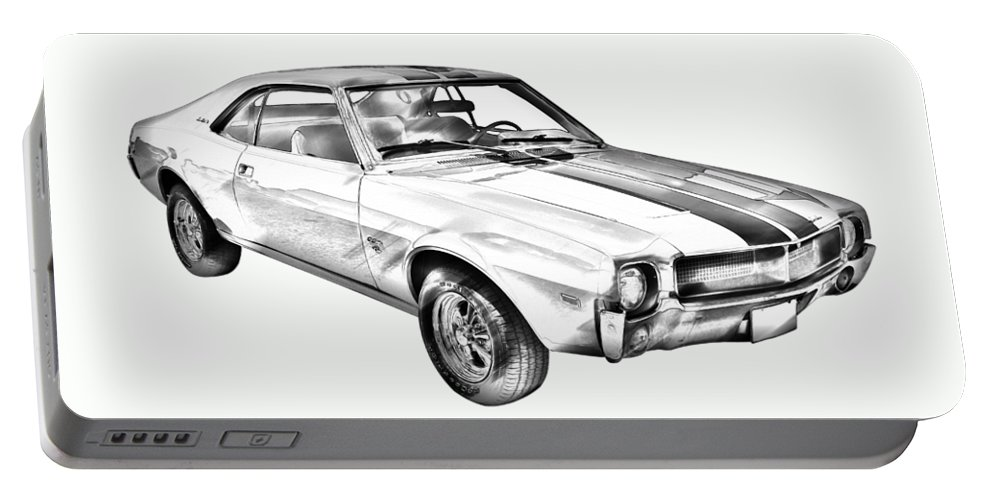 Car Portable Battery Charger featuring the photograph 1969 Amc Javlin Car Illustration by Keith Webber Jr