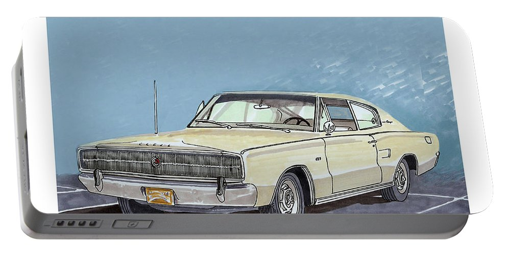 Consider Having Jack Pumphrey Do An Original Watercolor Painting Of Your Car Portable Battery Charger featuring the painting 1969 Dodge Charger by Jack Pumphrey