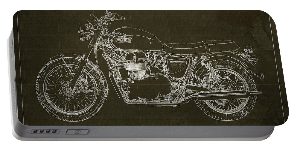1969 Portable Battery Charger featuring the drawing 1969 Triumph Bonneville Blueprint Brown Background by Drawspots Illustrations