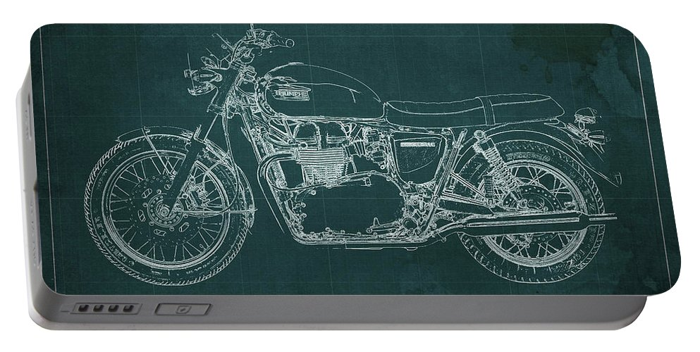 1969 Portable Battery Charger featuring the digital art 1969 Triumph Bonneville Blueprint Green Background by Drawspots Illustrations