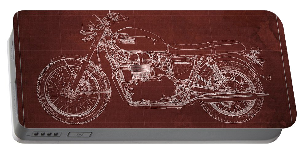 1969 Portable Battery Charger featuring the drawing 1969 Triumph Bonneville Blueprint Red Background by Drawspots Illustrations