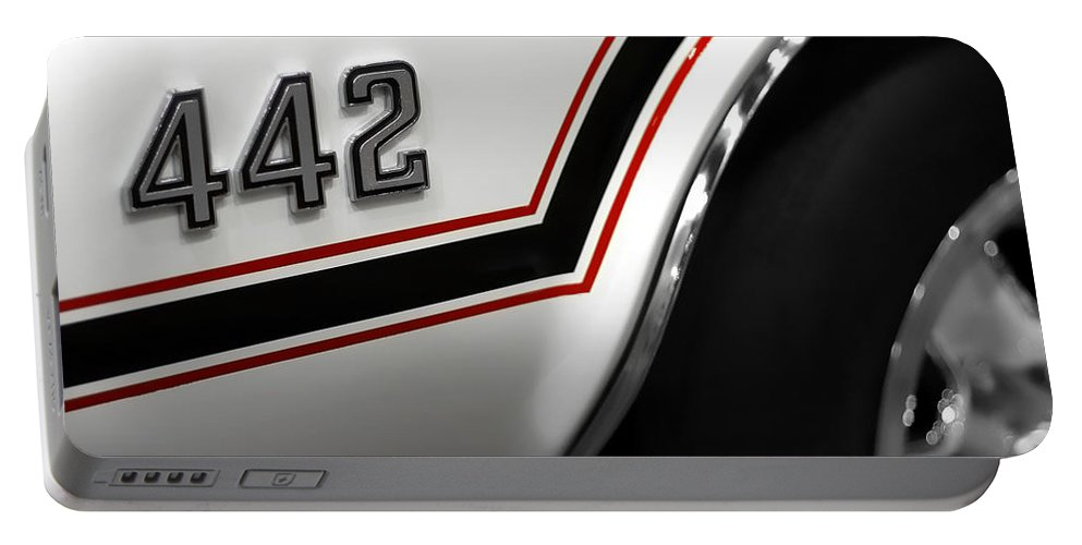 Oldsmobile Portable Battery Charger featuring the photograph 1970 Olds 442 Indy 500 Pace Car by Gordon Dean II