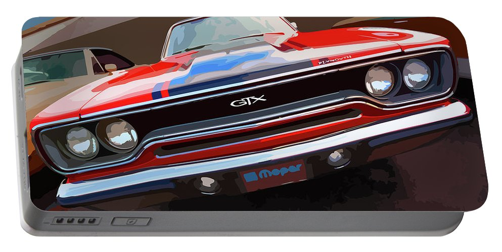 1970 Portable Battery Charger featuring the digital art 1970 Plymouth Gtx Vectorized by Gordon Dean II