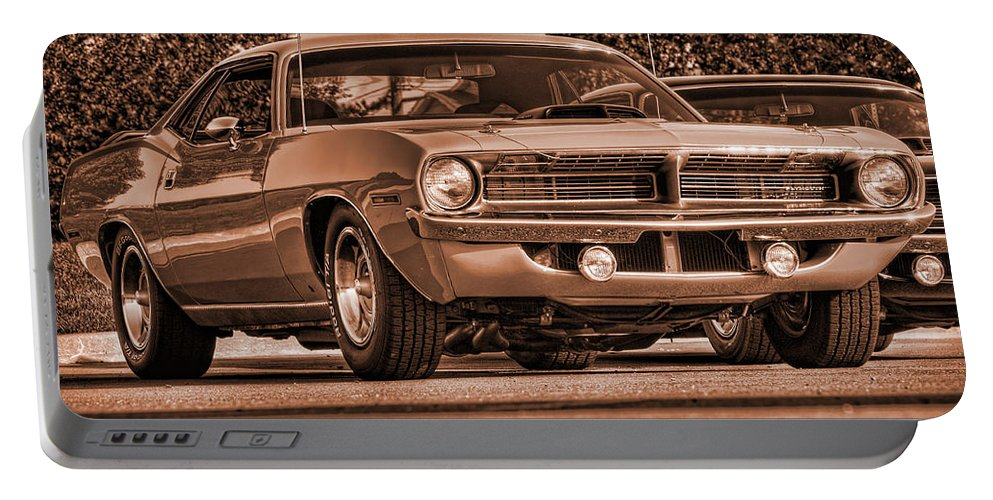 Sepia Portable Battery Charger featuring the photograph 1970 Plymouth Hemi 'cuda by Gordon Dean II