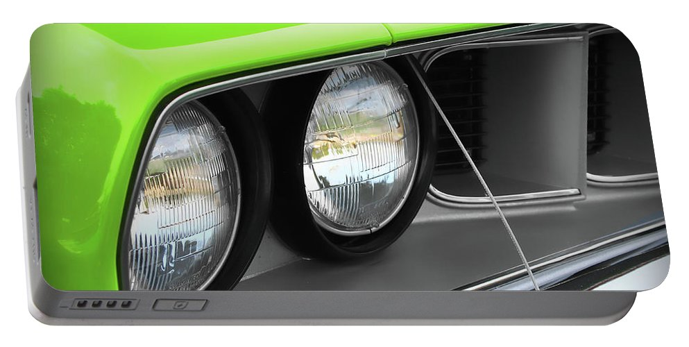 426 Portable Battery Charger featuring the photograph 1971 Plymouth Barracuda Cuda Sublime Green by Gordon Dean II
